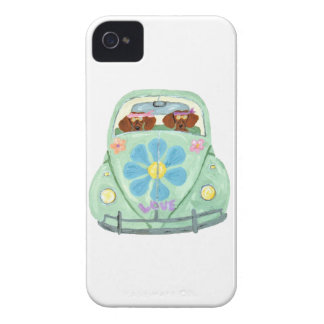 Dachshund Hippies In Their Flower Love Mobile iPhone 4 Case-Mate Cases