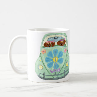 Dachshund Hippies In Their Flower Love Mobile Coffee Mug