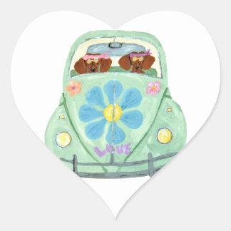 Dachshund Hippies In Their Flower Love Mobile Heart Sticker