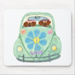 """Dachshund Hippies In Their Flower Love Mobile Mouse Pad<br><div class=""""desc"""">Dachshund Hippies Traveling In Style In Their Flower Love Mobile! These Dachshunds Are Out To Spread Dachshund Love To All They Meet! A Wonderfully Spirit Lifting Squirreldumplings Design!</div>"""