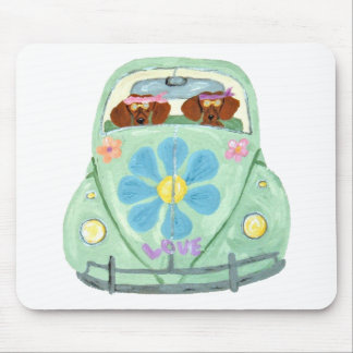 Dachshund Hippies In Their Flower Love Mobile Mouse Pads