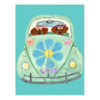 Dachshund Hippies In Their Flower Love Mobile Postcard