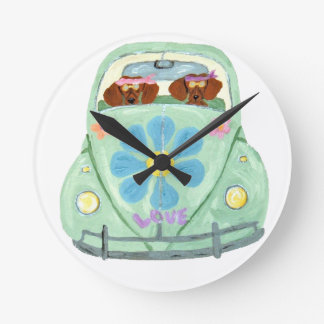 Dachshund Hippies In Their Flower Love Mobile Round Clock