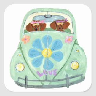 Dachshund Hippies In Their Flower Love Mobile Square Sticker