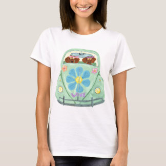 Dachshund Hippies In Their Flower Love Mobile T-Shirt