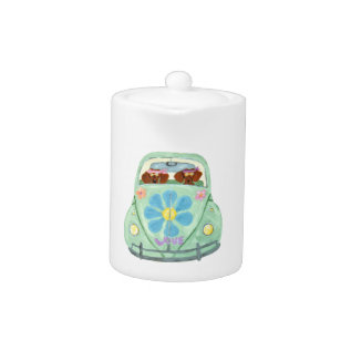 Dachshund Hippies In Their Flower Love Mobile Teapot at Zazzle