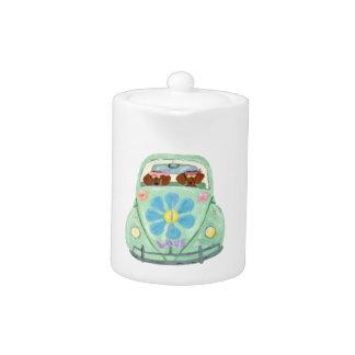 Dachshund Hippies In Their Flower Love Mobile Teapot