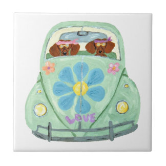 Dachshund Hippies In Their Flower Love Mobile Ceramic Tile
