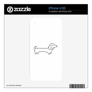 DACHSHUND, HOT DOG, SAUSAGE DOG, CUTE, DOG LOVER iPhone 4 DECALS