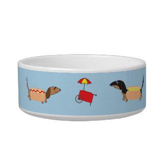 Dachshund Hot Dogs Small Dog Bowl-Blue by Sudachan