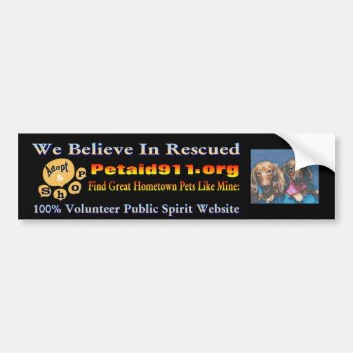 "Dachshund Hounds ""Adoption Drive""  www.dogaid911 Bumper Sticker"