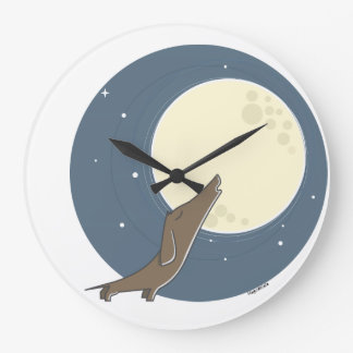 Dachshund howling AT the moon Large Clock