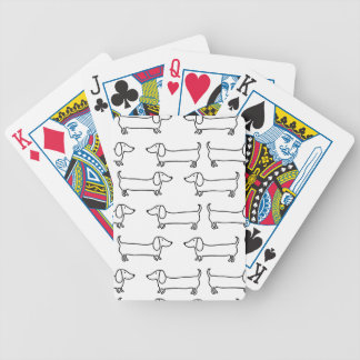 Dachshund in black-white bicycle playing cards