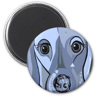 Dachshund in Blue 2 Inch Round Magnet
