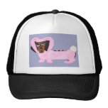 Dachshund In Fuzzy Pink Bunny Suit Hats
