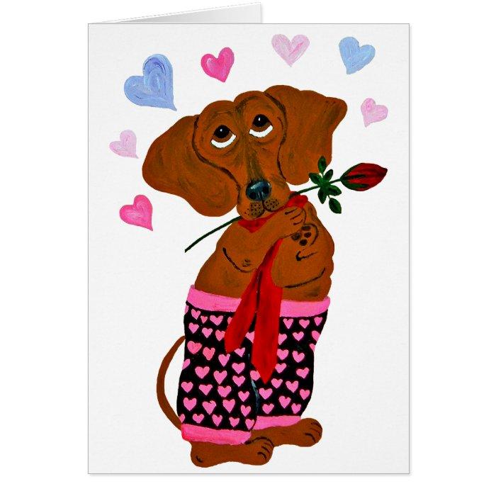 Dachshund In Pink Heart Shorts Card