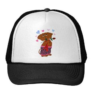 Dachshund In Pink Heart Shorts Trucker Hat