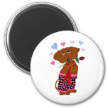 Dachshund In Pink Heart Shorts Magnet