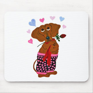 Dachshund In Pink Heart Shorts Mouse Pads
