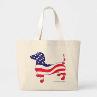 Dachshund in the American Flag Large Tote Bag