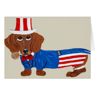 Dachshund In Uncle Sam Suit Card