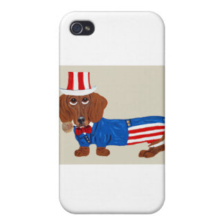 Dachshund In Uncle Sam Suit iPhone 4/4S Covers