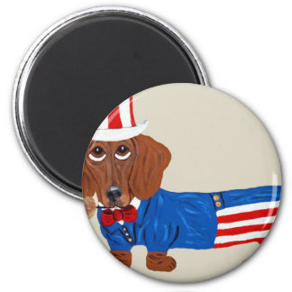 Dachshund In Uncle Sam Suit Magnet