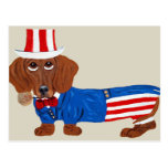 Dachshund In Uncle Sam Suit Postcards