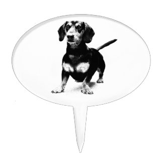Dachshund Ink Drawing Cake Toppers