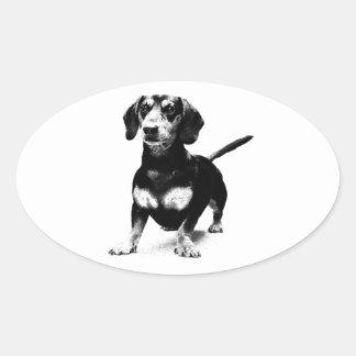 Dachshund Ink Drawing Oval Sticker
