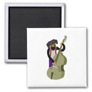 Dachshund Jazz Bass Player 2 Inch Square Magnet