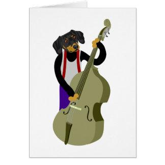 Dachshund Jazz Bass Player Greeting Card