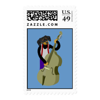 Dachshund Jazz Bass Player Postage Stamps