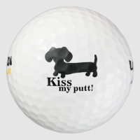 Dachshund Kiss my putt Golf Balls Wiener Dog