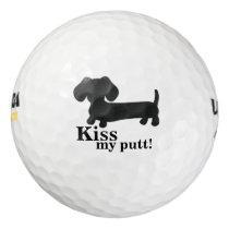 Dachshund Kiss my putt Golf Balls Wiener Dog