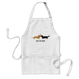 Dachshund Kiss with Custom Text Adult Apron