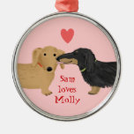 Dachshund Kiss with Heart and Custom Text Round Metal Christmas Ornament