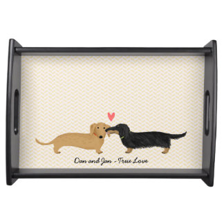 Dachshund Kiss with Heart and Text Serving Tray