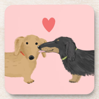 Dachshund Kiss with Heart Beverage Coaster