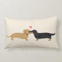 Dachshund Kiss with Heart Lumbar Pillow