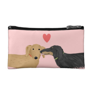Dachshund Kiss with Heart on Pink Cosmetic Bag