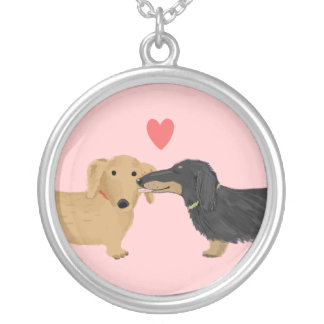 Dachshund Kiss with Heart on Pink Round Pendant Necklace