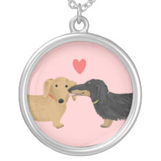 Dachshund Kiss With Heart On Pink Silver Plated Necklace at Zazzle