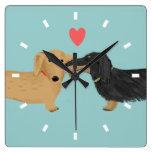 Dachshund Kiss with Heart Square Wall Clocks