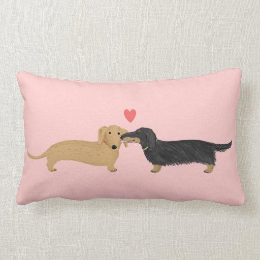 Dachshund Kiss with Heart Throw Pillow