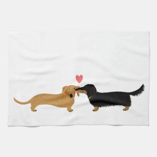 Dachshund Kiss with Heart Towel