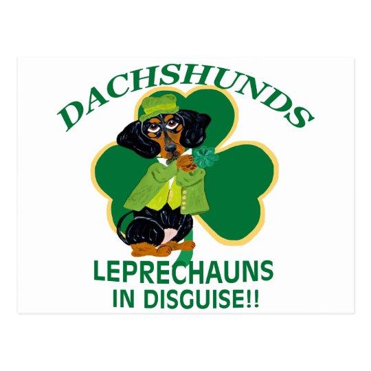 DACHSHUND LEPRECHAUN POSTCARD