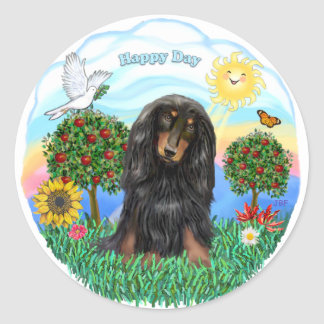 Dachshund (LH - Black-Tan) Classic Round Sticker