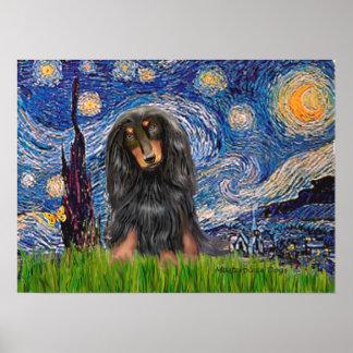 Dachshund (LHBT) - Starry Night Poster