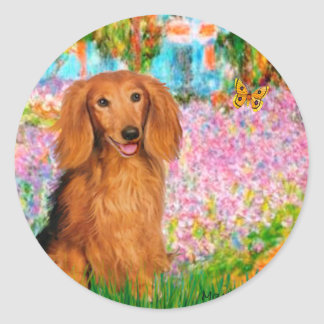 Dachshund LHSable - Garden Round Stickers